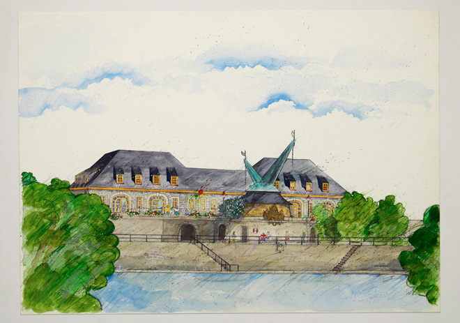 Illustration Aquarell Alter Kranen Würzburg