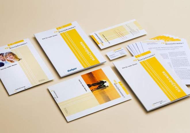 minijobrente Altersvorsorgesystem für geringfügig Beschäftigte in Deutschland Broschüren, Info-Mappen, Formulare, Visitenkarten und Briefpapier