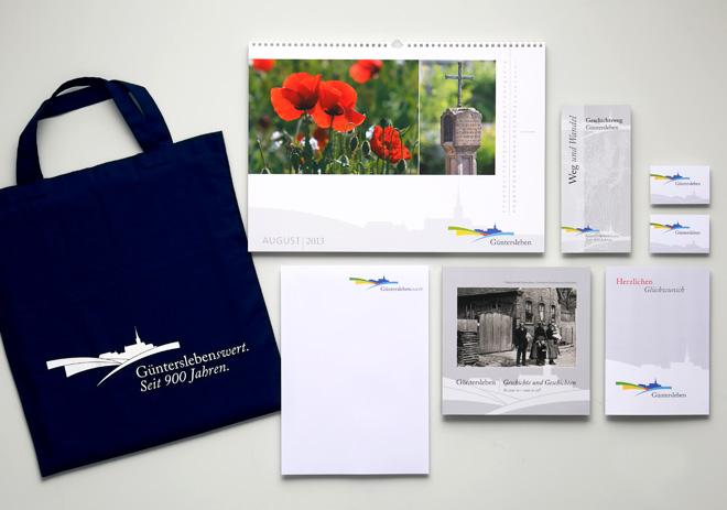 Corporate Design Gemeinde Güntersleben Geschäftsausstattung, Kalender, Tasche, Glückwunschkarte, Buch